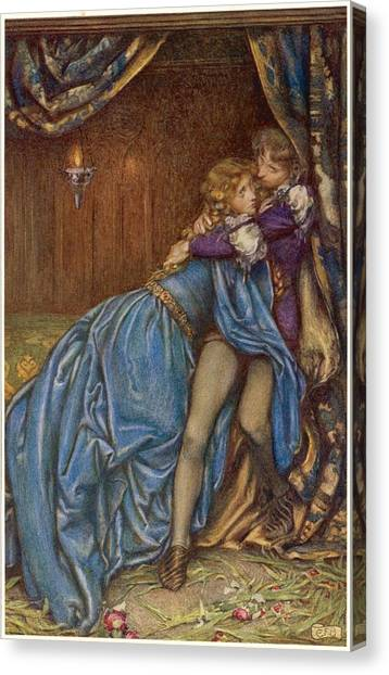 Lancelot And Guinevere  Together Canvas Print by Mary Evans Picture Library