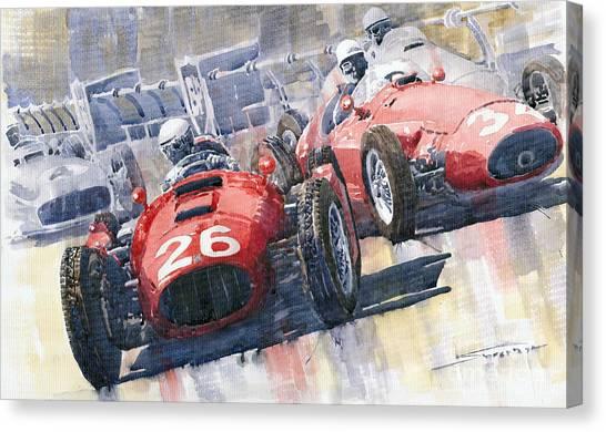 Grand Prix Racing Canvas Print - Lancia D50 Alberto Ascari Monaco 1955 by Yuriy Shevchuk