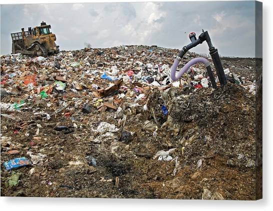 Bulldozers Canvas Print - Landfill Gas Recovery Well by Jim West