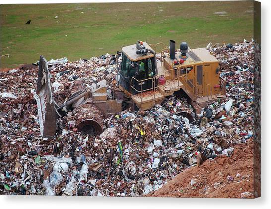 Bulldozers Canvas Print - Landfill Waste Disposal Bulldozer by Peter Menzel