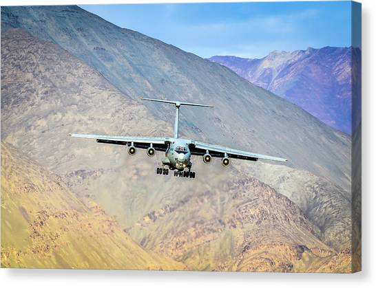 Air Force Canvas Print - Landing At Leh by Krishnaraj Palaniswamy
