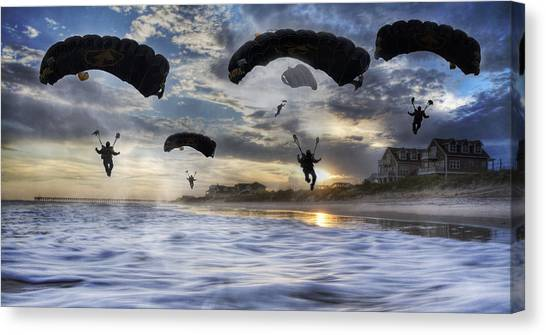 Paratroopers Canvas Print - Landing At Sunset by Betsy Knapp