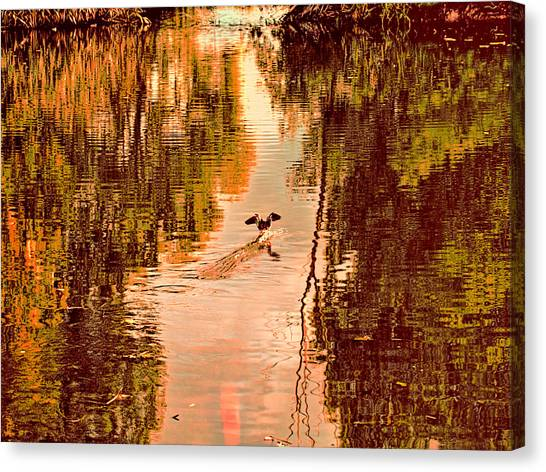 Canvas Print featuring the photograph Landing Duck Absrtact by Leif Sohlman