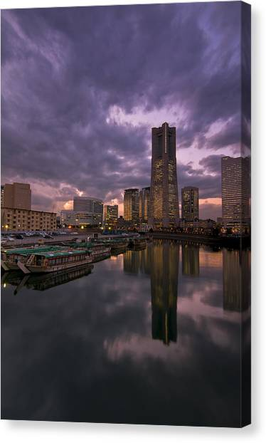 City Sunsets Canvas Print - Landmark Tower by Aaron Bedell