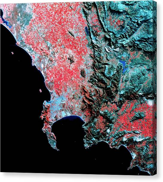 Cape Town Canvas Print - Landsat Image Of Cape Town And Surroundings by Nrsc Ltd/science Photo Library