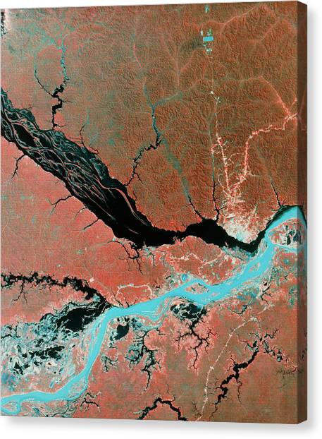 Amazon River Canvas Print - Landsat Image Of Confluence Of Amazon & Rio Negro by Mda Information Systems/science Photo Library