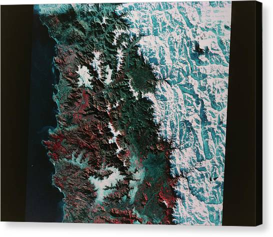 Andes Mountains Canvas Print - Landsat Photo Of Santiago by Mda Information Systems/science Photo Library