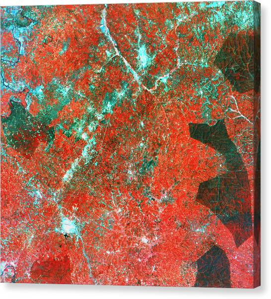 Deforestation Canvas Print - Landsat View Of Deforestation by Mda Information Systems/science Photo Library