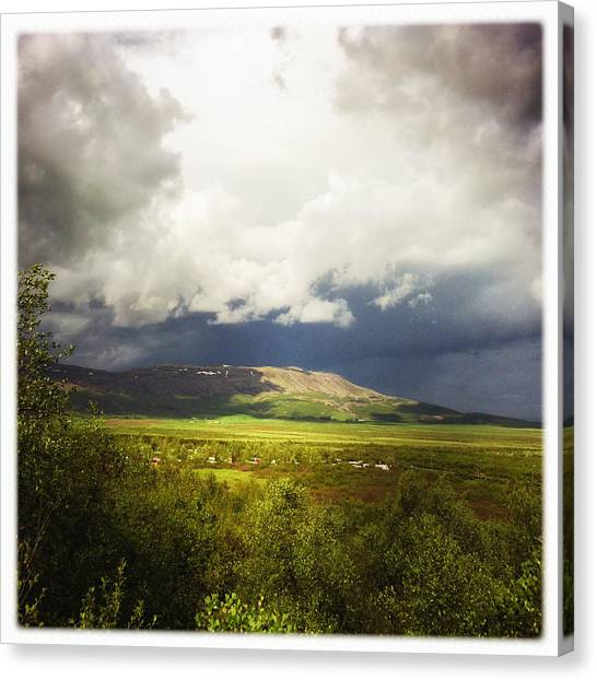 Flags Canvas Print - Landscape And Cloudy Sky In Iceland by Matthias Hauser