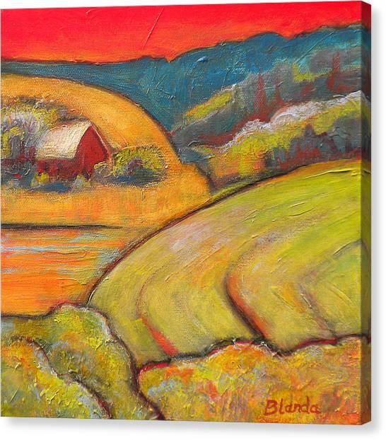 Farms Canvas Print - Landscape Art Orange Sky Farm by Blenda Studio