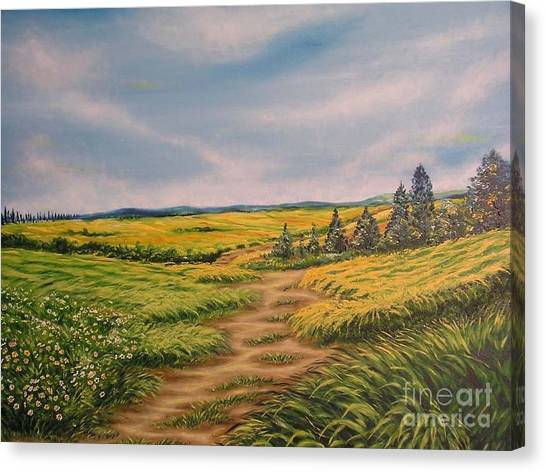 Landscape Field Grass Trees And Road  Canvas Print by Drinka Mercep