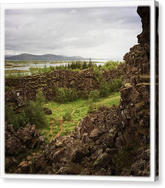 Rock Canvas Print - Landscape In Iceland Pingvellir by Matthias Hauser