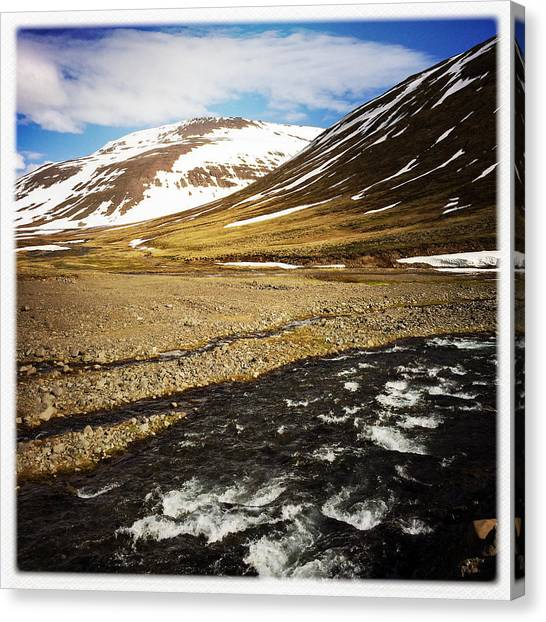 Landscape Canvas Print - Landscape In North Iceland - River And Mountain by Matthias Hauser
