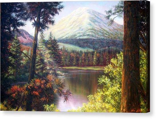 Landscape-lake And Trees Canvas Print