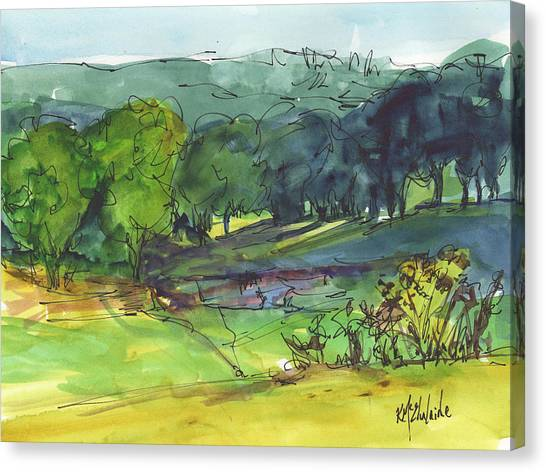 Landscape Lakeway Texas Watercolor Painting By Kmcelwaine Canvas Print