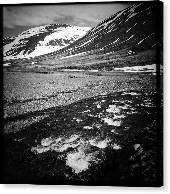 Landscape Canvas Print - Landscape North Iceland Black And White by Matthias Hauser