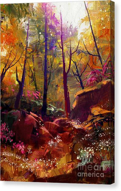 Bright Canvas Print - Landscape Painting Of Beautiful Autumn by Tithi Luadthong