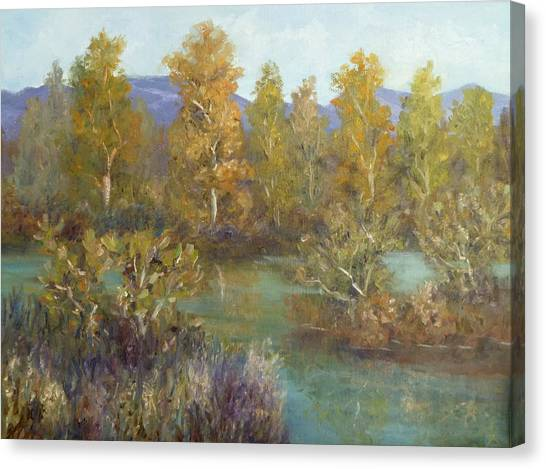 Landscape River And Trees Paintings Canvas Print