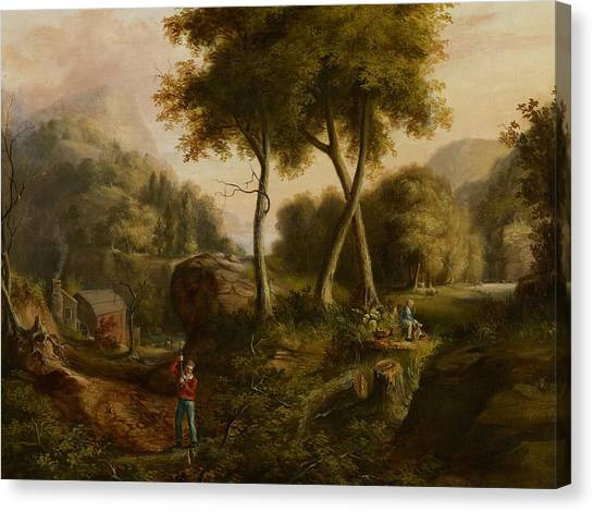 Woodsmen Canvas Print - Landscape by Thomas Cole