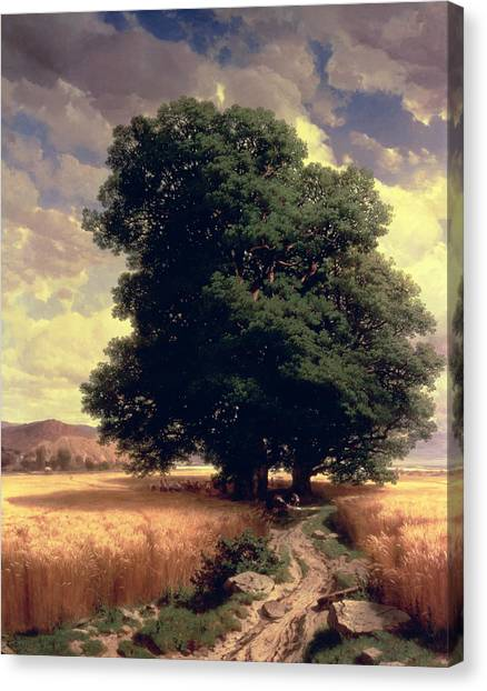 Corn Field Canvas Print - Landscape With Oaks by Alexandre Calame