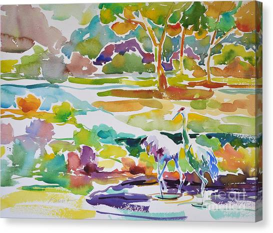 Landscape With Sand Hill Cranes Canvas Print