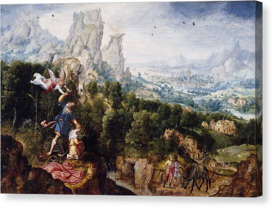Old Testament Canvas Print - Landscape With The Offering Of Isaac, C.1540 Oil On Panel by Herri met de Bles
