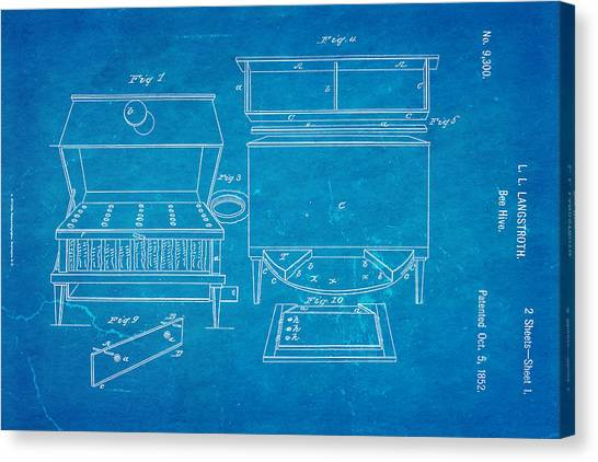 Keeper Canvas Print - Langstroth Bee Hive Patent Art 1852 Blueprint by Ian Monk