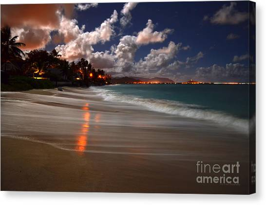 Lanikai Beach At Night View Of Kailua Bay  Canvas Print