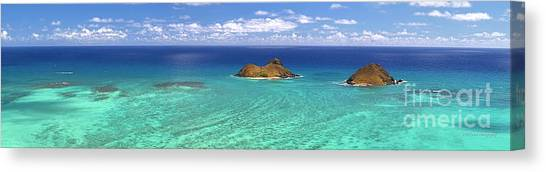 Lanikai Beach From Above Panorama Canvas Print