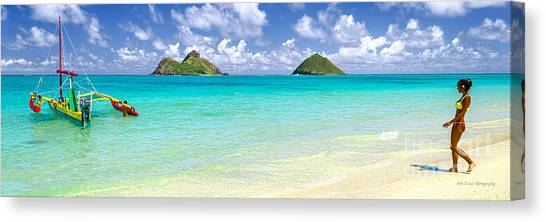 Lanikai Beach Paradise 3 To 1 Aspect Ratio Canvas Print