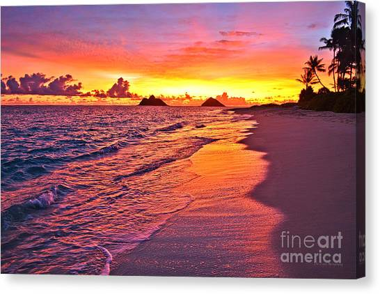 Beach Sunrises Canvas Print - Lanikai Beach Winter Sunrise Rays Of Light by Aloha Art