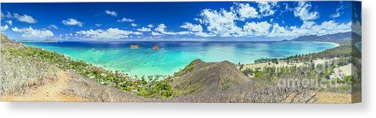 Lanikai Bellows And Waimanalo Beaches Panorama Canvas Print