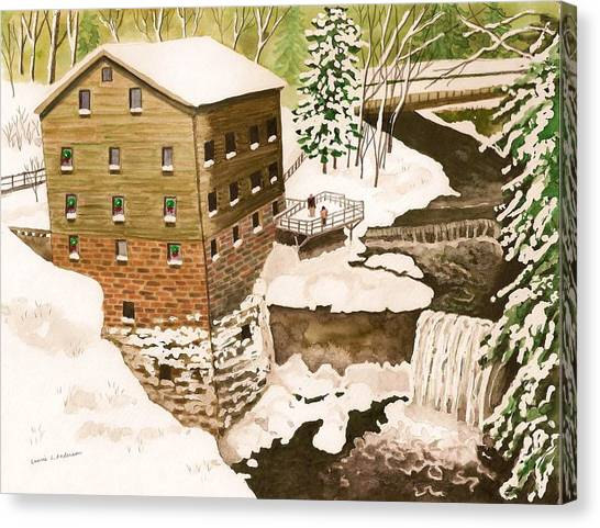 Lantermans Mill In Winter - Mill Creek Park Canvas Print