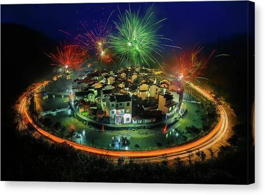 Fireworks Canvas Print - Lantern Festival Celebration by Hua Zhu