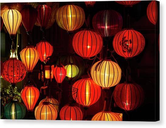 Lantern Shop At Night, Hoi An, Vietnam Canvas Print by David Wall