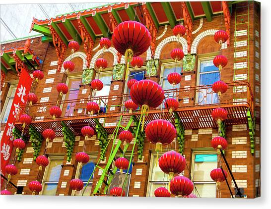 Chinese New Year Canvas Print - Lanterns In Chinatown by Geri Lavrov