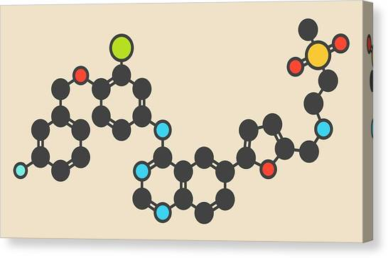 Lapatinib Cancer Drug Molecule Canvas Print by Molekuul
