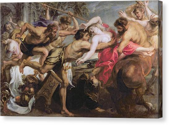 Centaurs Canvas Print - Lapiths And Centaurs Oil On Canvas by Peter Paul Rubens