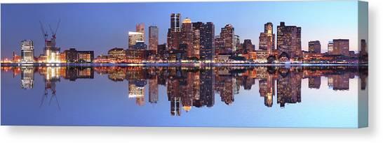 Large Boston City Panorama At Night Canvas Print by Buzbuzzer