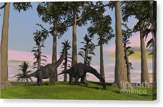 Brachiosaurus Canvas Print - Large Brachiosaurus Dinosaurs Grazing by Kostyantyn Ivanyshen