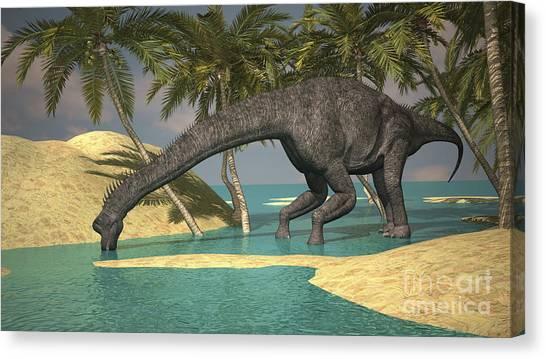 Brachiosaurus Canvas Print - Large Brachiosaurus Drinking Water by Kostyantyn Ivanyshen