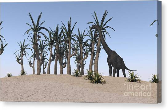 Brachiosaurus Canvas Print - Large Brachiosaurus Grazing On An by Kostyantyn Ivanyshen