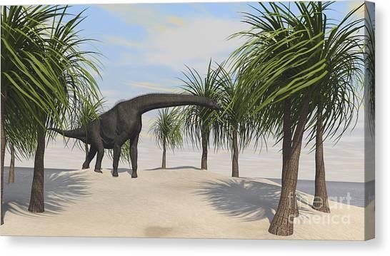 Brachiosaurus Canvas Print - Large Brachiosaurus Grazing On Trees by Kostyantyn Ivanyshen