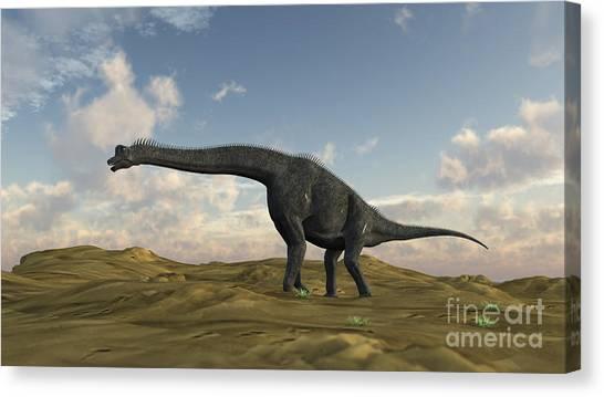 Brachiosaurus Canvas Print - Large Brachiosaurus In A Barren by Kostyantyn Ivanyshen