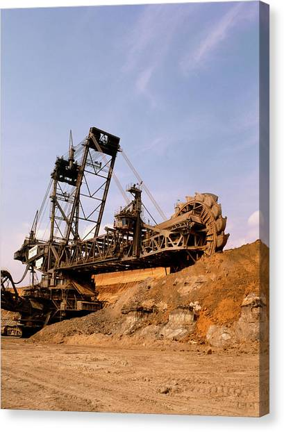 Excavators Canvas Print - Large Bucket Wheel Excavator At Open Cast Coalmine by Tony Craddock/science Photo Library