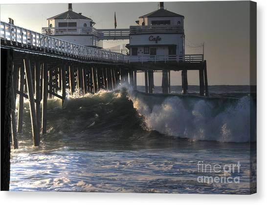 Large Wave At Malibu Pier Canvas Print