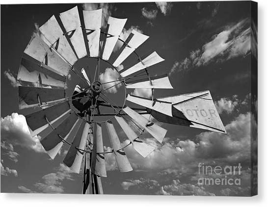 Large Windmill In Black And White Canvas Print