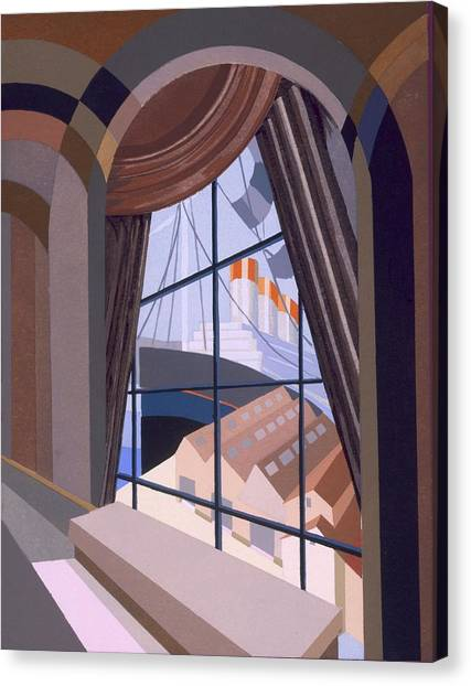 Glass Canvas Print - Large Window With A Seat, From Relais by Edouard Benedictus