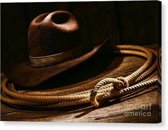 American Cowboy Canvas Print - Lariat And Hat by Olivier Le Queinec