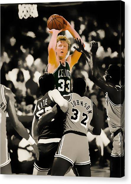 Three Pointer Canvas Print - Larry Bird by Brian Reaves